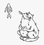 Cat who wants to eat a tasty fish vector drawn curve.  Royalty Free Stock Photography