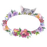 Cat wild animal frame in a watercolor style. Stock Photos