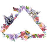Cat wild animal frame in a watercolor style. Stock Photography