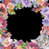Cat wild animal frame in a watercolor style. Royalty Free Stock Image