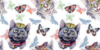 Cat wild animal pattern in a watercolor style. Stock Photography