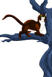 Cat wild tree character cartoon style  illustration white Royalty Free Stock Images