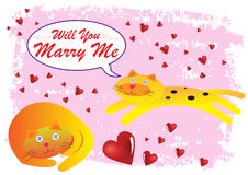 Cat Will You Marry Me Illustration Royalty Free Stock Photography
