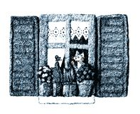 Cat window blue. It' s an illustration of a cute cat at the window. Blue dominant color Stock Photo