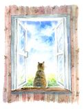 Cat on the windowsill.Summer, open window and pet. Watercolor hand drawn illustration Royalty Free Stock Photography