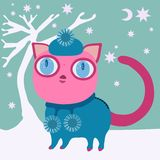 Cat with winter cap and dress with balls Stock Photos