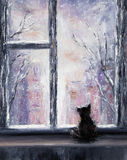 Cat and winter Stock Photo