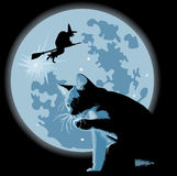 Cat and witch against full moon Stock Photography