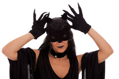 Cat Woman. Black cat woman showing her claws (isolated on white Stock Photo