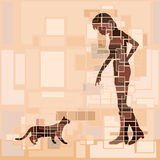 Cat woman. Editable vector design of a woman and cat approaching each other Stock Photos