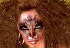 Cat woman, with cat makeup and hairstyle. Beauty Fashion Model Girl with Holiday Leopard Makeup. Golden Wild Cat Eyes Make-up Eyeshadow. Beautiful Woman Face Royalty Free Stock Photography