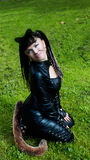 Cat Woman on the grass Stock Image