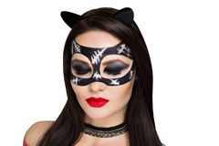 Cat woman makeup. Young beautiful bright showy girl lady model sexy cat. Fairy tale future party cosplay club. new makeup flawless face dark eyes cheeks eyebrows Stock Photo
