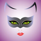 Cat Woman mask. Cat Woman with green eyes in mask over violet background, hand drawing vector illustration Stock Photography