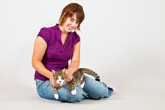 Cat and women Stock Photo