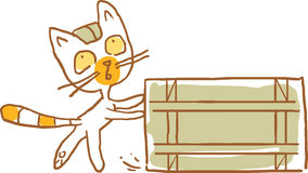 Cat with the Wooden Box. Vector Illustration. Part of a Series Royalty Free Stock Photos
