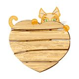 Cat with a wooden signboard in the shape of heart. This is file of EPS10 format Stock Photography