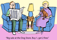 Cat worried about dogs in the household. Big sale at the Dog Store. Buy 1, get 2 free vector illustration