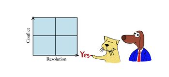 Cat writes yes to resolution stock illustration