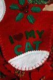 Cat Xmas stocking. Christmas stocking with I love my cat Royalty Free Stock Images