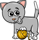 Cat with yarn cartoon illustration Stock Image