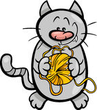 Cat with yarn cartoon illustration Royalty Free Stock Image