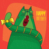 Cat yawns and inscription Happy Birthday Royalty Free Stock Image