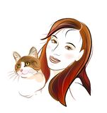 Cat  and  young girl Royalty Free Stock Image