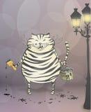 Cat-zebra. Cat painted himself like a zebra Stock Photography