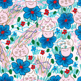 Cat zen blue flower seamless pattern. This illustration is abstract zen cat transparent emotion with blue color and freedom fish in drawing background and Stock Images