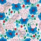 Cat zen blue flower seamless pattern Stock Images