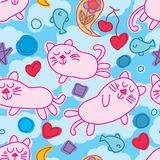 Cat zen dream seamless pattern. This illustration is design and drawing abstract cat zen free with elements in blue cloud sky background and seamless pattern Stock Photos