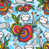 Cat zen flower seamless pattern Stock Image