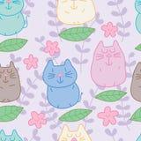 Cat zen leaf pastel color seamless pattern Stock Photo
