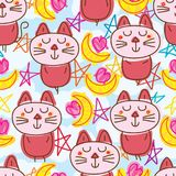 Cat zen moon heart seamless pattern Stock Photography