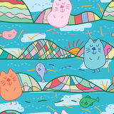 Cat zen unknown where seamless pattern. This illustration is design and drawing abstract zen cat with heaven and earth in unknown sea, land or sky seamless Royalty Free Stock Photography