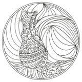 Cat. Zendala. Design Zentangle. Royalty Free Stock Image
