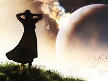 Cataclysm Witness. A huge meteor hitting the planet and a young lady witnessing to it on a top of a hill Stock Photo