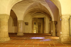 Catacomb of cathedral Augsburg. The catacomb of the Cathedral of Augsburg, Germany. A roman catholic church founded in the 11th century. Open door into the crypt Stock Image