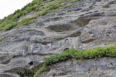 Catacomben in de rotsen van Monchsberg in Salzburg, Oostenrijk worden gesneden dat Royalty-vrije Stock Foto's