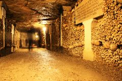 catacombes de Paris Images libres de droits