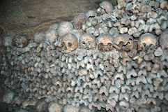 Catacombs. Skulls & bones in the Catacombs of Paris, France Royalty Free Stock Images
