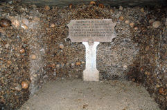 Catacombs. Skulls & bones in the Catacombs of Paris, France Royalty Free Stock Photo