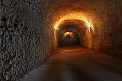 Catacombs. Well lit catacombs of the castle in Dubno, Ukraine Stock Photography