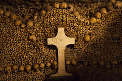 Catacombs of Paris. Buried underground for more than 6 million people Stock Photos