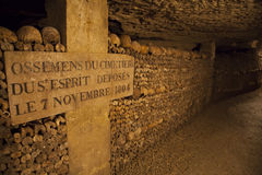 Catacombs of Paris. Buried underground for more than 6 million people Stock Photo
