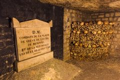 Catacombs in Paris France. Travel background Stock Photo