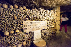 The Catacombs of Paris. France. They are underground ossuaries and tourist attractions Royalty Free Stock Photography
