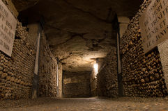 The catacombs of Paris. A most peculiar place Royalty Free Stock Image