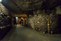 The Catacombs of Paris. PARIS - OCTOBER 25, 2013: The Catacombs of Paris, France Royalty Free Stock Image
